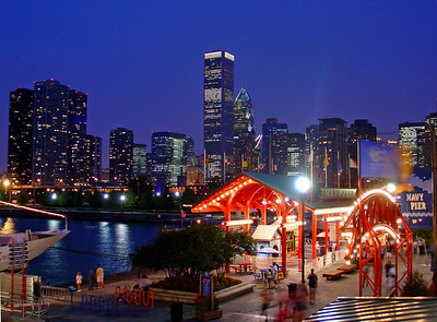 navy pier chicago skyline night