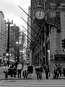 The corner of State and Washington Street where the Marshall Fields will soon become Macy's