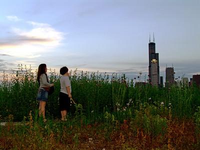 Children admire the Chicago Skyline at dusk