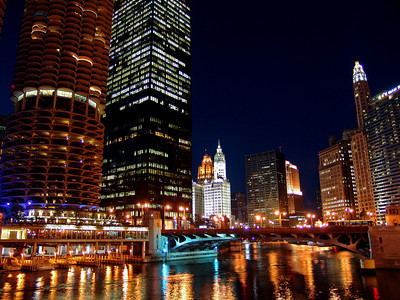 Marina Tower and Wrigley Building from the Chicago River
