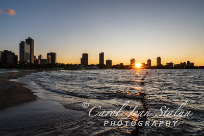 Chicago Sunset at North Avenue Beach