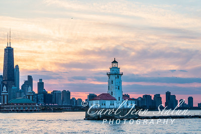 Chicago Harbor Lighthouse with Skyline 2