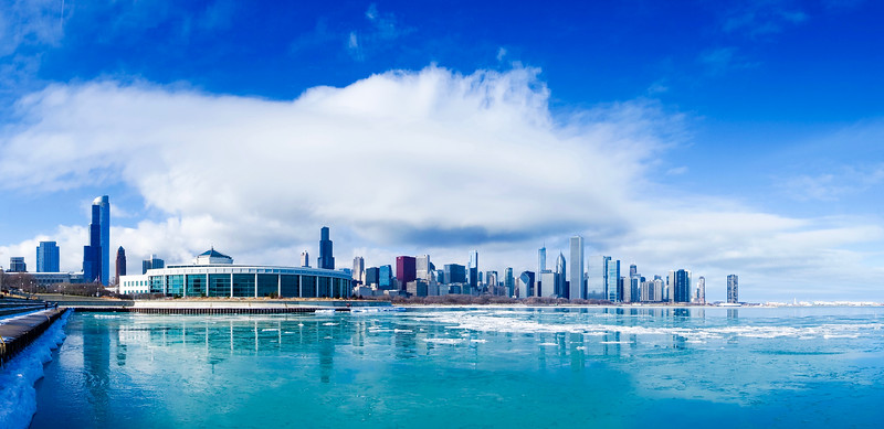 Chicago Skyline Winter Panorama