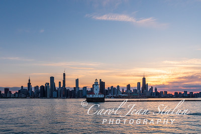 Chicago Harbor Lighthouse with Skyline 3