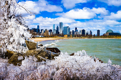 Ice Storm and Chicago Skyline