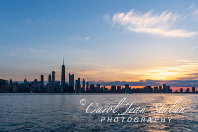 Chicago Skyline Sunset 3