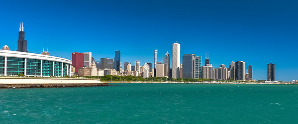 The Chicago skyline from near the Adler Planetarium