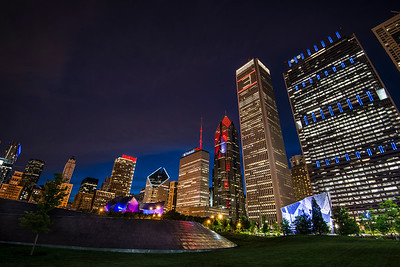 The Chicago skyline from Millennium Park