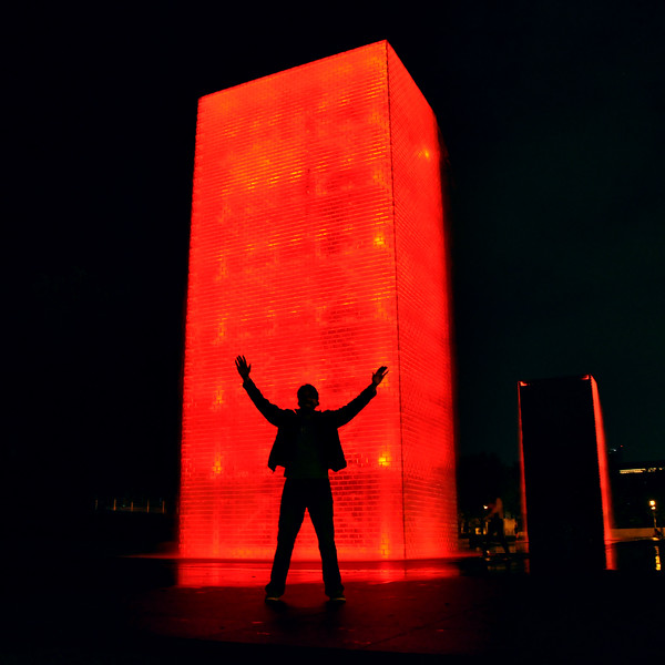Matt standing behind Crown Fountain. 2012.