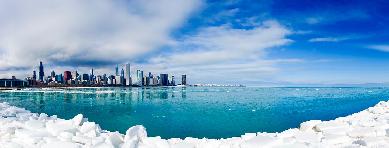 Icy Chicago Skyline Panorama