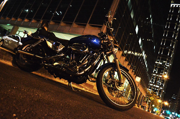 Motorcycle in downtown Chicago