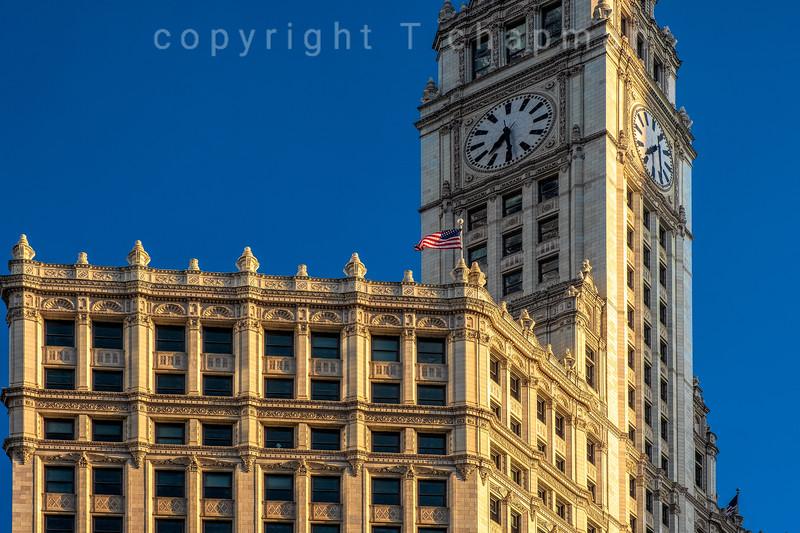 Wrigley Clock and Flag