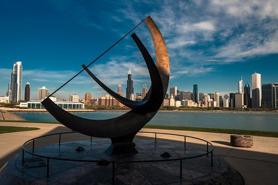 The Chcago skyline as seen from the Adler Planetarium