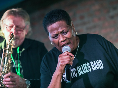 Mary Lane with Mike Faure in background | Mary Lane and the No Static Blues Band