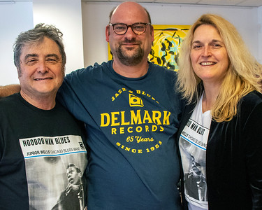 JUNE 5 | (l-r) Delmark's Elbio Barilari, Franky Bruneel (Back to the Roots magazine) and Delmark's Julia Miller@ Delmark's Riverside Studio