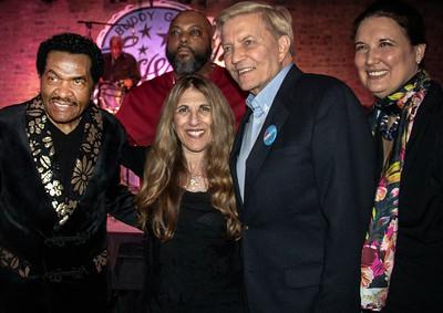 (l-r) Bobby Rush, Publicist Lynn Orman, Bob Fioretti and Mrs. Fioretti; Unnamed man in background