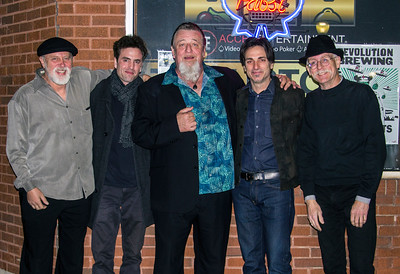 THE BAND (l-r): Mojo Mark Cihlar (guitar), Jordie Edmonds (guitar), Harpdog Brown (harp) Steve Bass (drums) and Michael Flynn (bass)