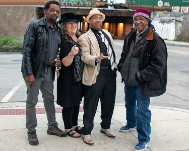 Low-reen and the Maxwell St. Market Blues Band (l-r: Tony Brown, Low-reen, DC and  Stewart)