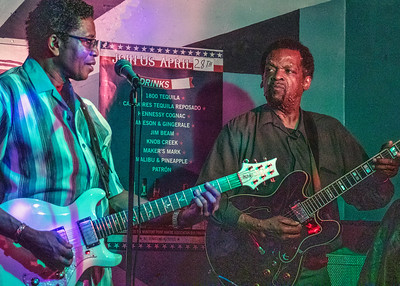 K-Kazz (l) with Tony Brown | Low-reen and the Maxwell St. Market Blues Band
