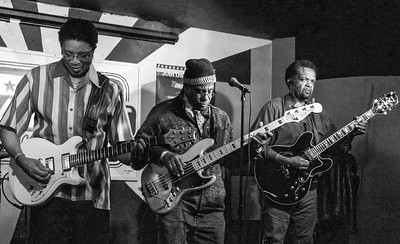 (l-r) K-Jazz, Stewart and Tony Brown | Low-reen and the Maxwell St. Market Blues Band