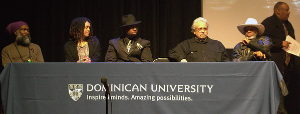 Panel Participants (l-r): Musician Corey Harris; Francesca T. Royster, Professor of English and Chair of the English Department, DePaul University; Musician Theo Huff; Barry Dolins, former Deputy Director of the Mayor's Office of Special Events in Chicago and a current adjunct professor at Dominican University;  Songwriter/Producer/Promoter/Manager Bob Jones, owner of Big Times Blues, SDEG Entertainment Group; and Wittenberg University Professor Julius Bailey