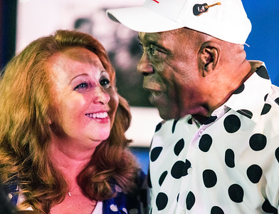 Janine Judge (of Blues Heaven Foundation) with Buddy Guy