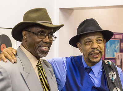 John Primer (r) with Odie Payne III (Doc Payne and the Pain Relief Smooth Blues Band)