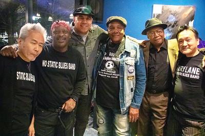 (l-r) Ariyo, Jeffrey Labon, Ronnie Baker Brooks, Willie Buck, Freddie Dixon and Minoru Maruyama