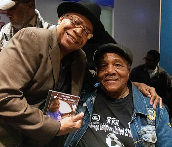 Freddie Dixon (l) with Willie Buck, showing off his new Delmark release