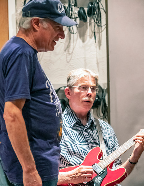 Producer Dick Shurman (l) with Billy Flynn | Delmark Rehearsal for Blues Fest