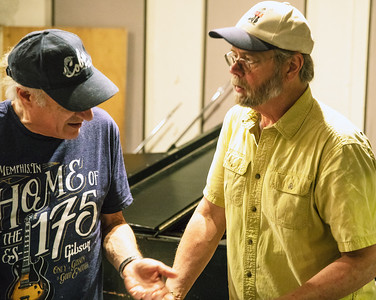 Producer Dick Shurman (l) with Ken Saydak | Delmark Rehearsal for Blues Fest