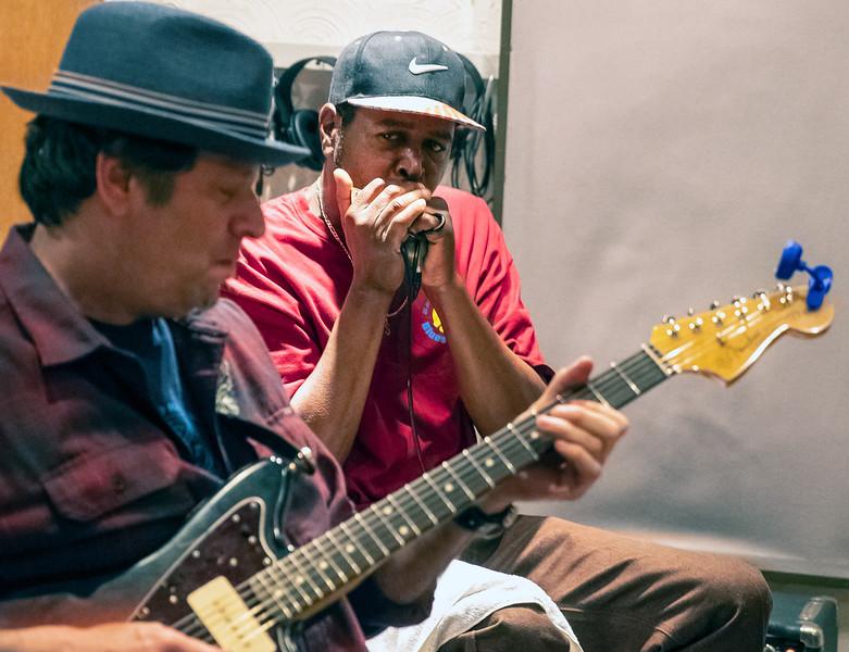 Dave Specter (l) with Steve Bell | Delmark Rehearsal for Blues Fest