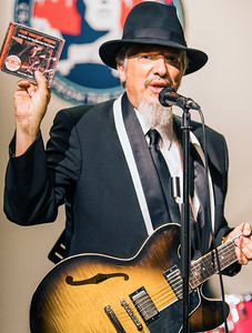 Jeff Stone with a copy of the Honeyboy Edwards DVD that won a Living Blues Award