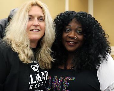 Delmark's Julia Miller (l) with Thornetta Davis