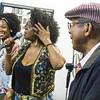 Tracee Adams (c) gets audience members up to dance