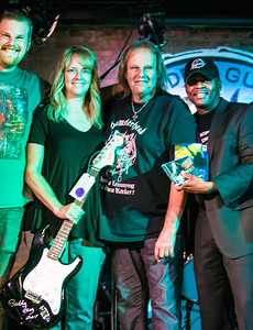 Guitar winner (2nd from l) poses with (l-r) Jon Trout, Walter Trout and Legends MC Johnny