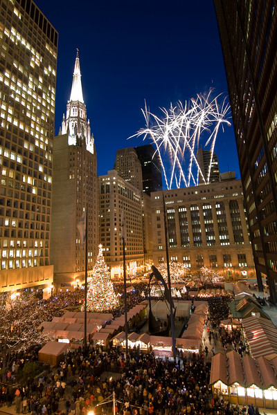 Chicago's Daley Plaza during Christmas Tree lighting.