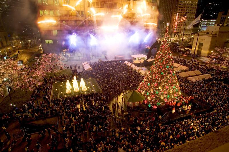 Chicago's Daley Plaza Christmas Tree lighting.