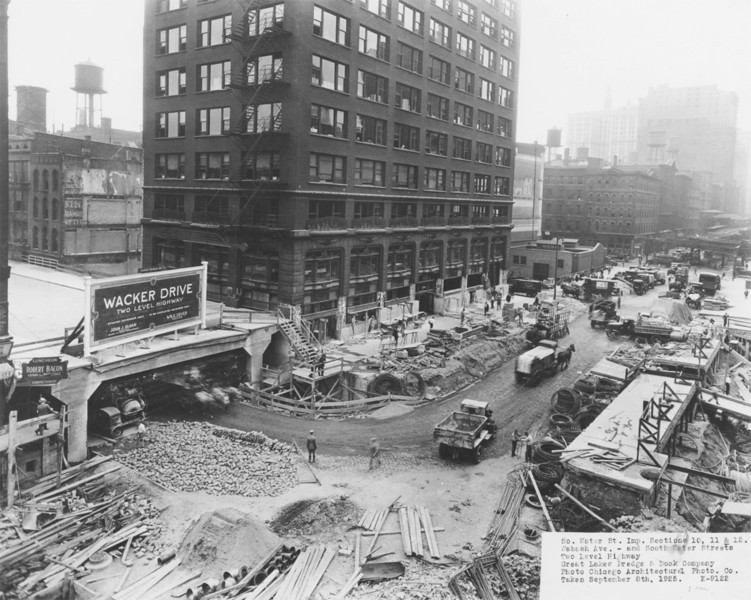 In 1925 the Great Lakes Dredge and Dock Company worked at the intersection of South Water Street and Wabash Avenue to create the bi-level Wacker Drive.  Photographer: Chicago Architectural Photographic Co. Source: Chicago Historical Society (ICHi-37922)   http://encyclopedia.chicagohistory.org/pages/11198.html