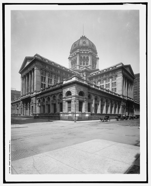 Title: Post Office, Chicago, Ill. Detroit Publishing Co. , publisher Date Created/Published: [between 1900 and 1906]   http://www.loc.gov/pictures/item/det1994009608/PP/