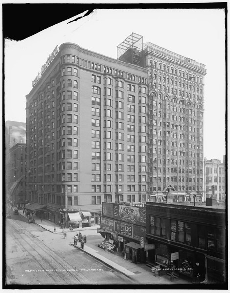 Architect:  D.H. Burnham and Company, 1890-92, northeast corner of Dearborn St. and Jackson Blvd.,  demolished in 1940.  Title: Great Northern Building & Hotel, Chicago Related Names:    Detroit Publishing Co. , publisher Date Created/Published: [between 1890 and 1901]   http://www.loc.gov/pictures/item/det1994007879/PP/