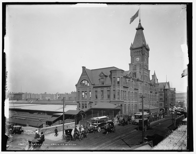 Title: Chicago, Ill., C. & N.W. R.R. station Related Names:    Detroit Publishing Co. , copyright claimant    Detroit Publishing Co. , publisher Date Created/Published: c1898.   http://www.loc.gov/pictures/item/det1994003807/PP/