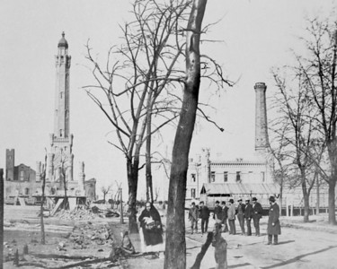 The first lake tunnel was completed in 1869 and connected to the Water Tower and Pumping Station at Chicago and Michigan Avenues. Today, multiple lake tunnels and pumping stations constitute Chicago's water system.  Photographer: Unknown Source: Chicago Historical Society (ICHi-02792)   http://encyclopedia.chicagohistory.org/pages/10768.html