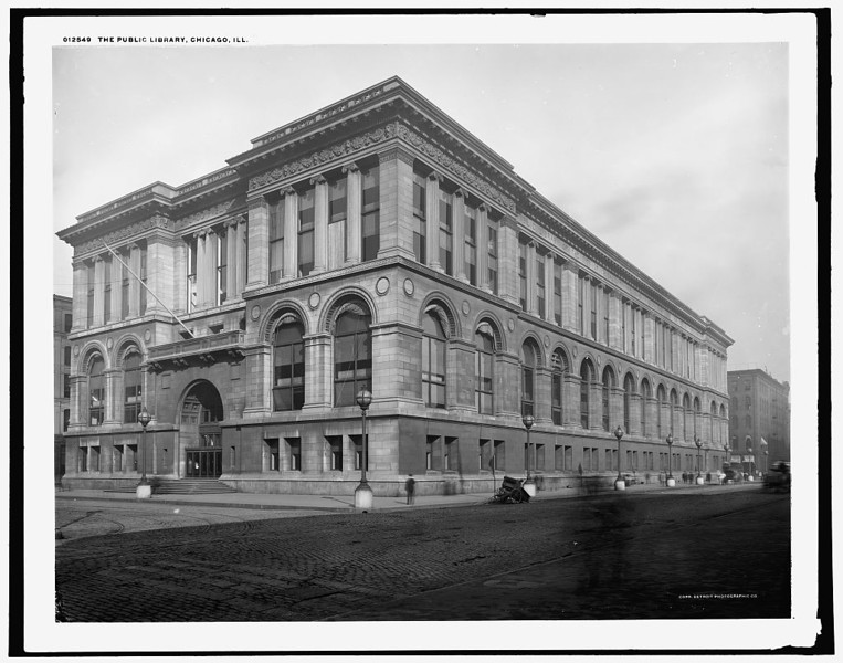 Title: The Public library, Chicago, Ill. Related Names:    Detroit Publishing Co. , copyright claimant    Detroit Publishing Co. , publisher Date Created/Published: [c1900]   http://www.loc.gov/pictures/item/det1994007878/PP/