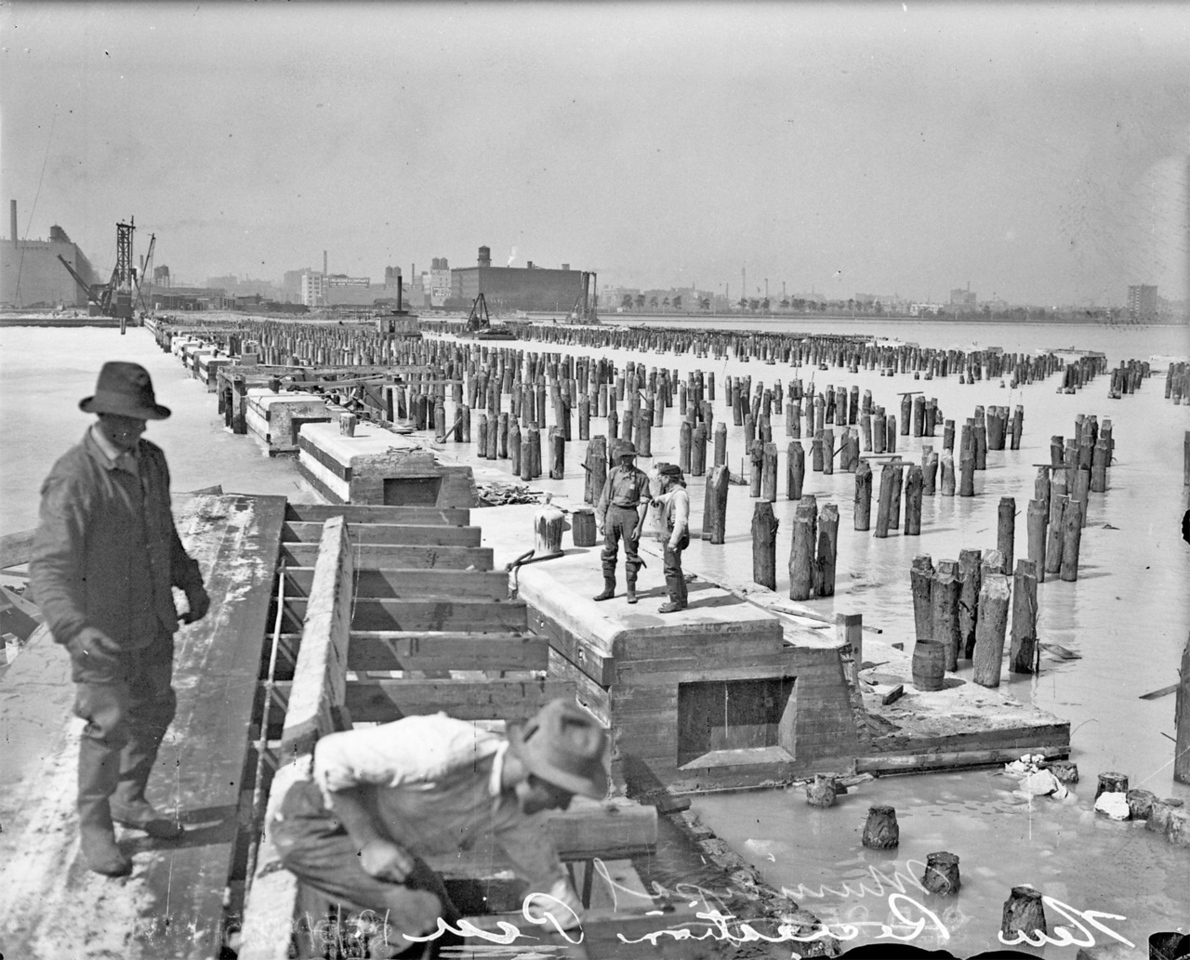 The construction of Municipal Pier in 1914 was just one of the projects that reshaped the lakeshore. The pier was renamed Navy Pier in 1927 to honor navy veterans of World War I.   http://encyclopedia.chicagohistory.org/pages/3802.html