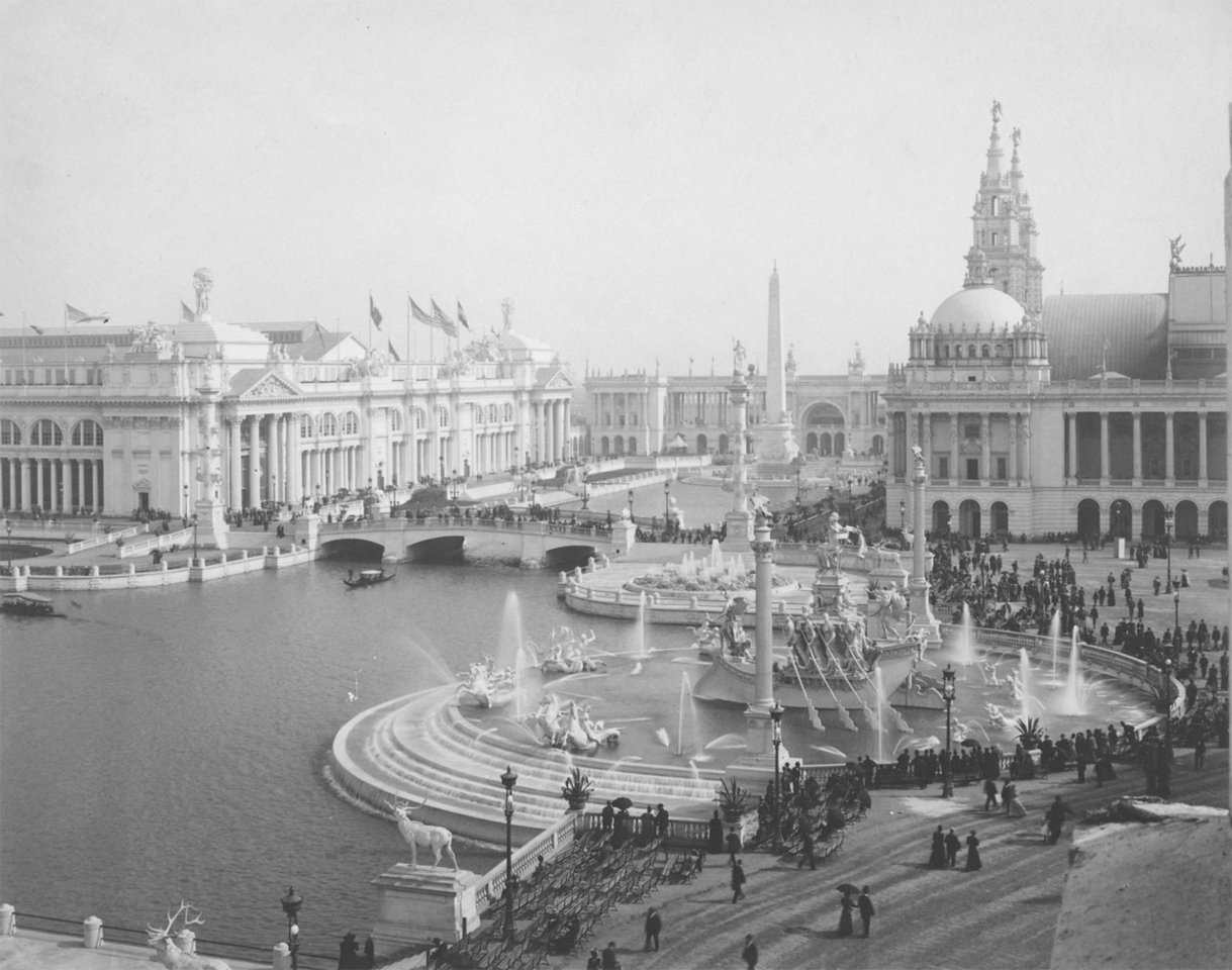 The Court of Honor was the architectural showpiece of the exposition. At the right is the Columbian Fountain, designed by Frederick MacMonnies. Machinery Hall is visible behind it, and the Agricultural Building appears at the left. The ensemble of neoclassical palaces and Venetian waterways set a tone of imperial splendor and aesthetic sophistication, which Chicago's fair supporters hoped would counter the city's reputation as commercial center lacking in refinement and high culture.  Photographer: Charles Dudley Arnold Source: Chicago Historical Society (ICHI-18013)   http://encyclopedia.chicagohistory.org/pages/3896.html