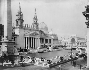 Title: [Palace of Mechanic Arts and lagoon at the World's Columbian Exposition, Chicago, Illinois] Creator(s): Johnston, Frances Benjamin, 1864-1952, photographer Date Created/Published: [1892, printed later]   http://www.loc.gov/pictures/item/96516572/