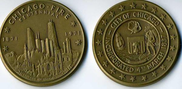 Chicago Fire Cenntenial coins