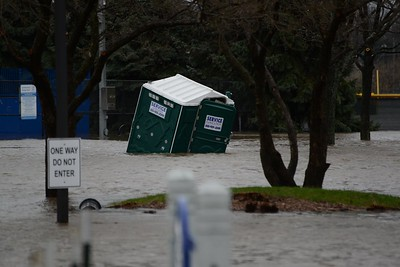 This port-a-loo's taking on too much water!