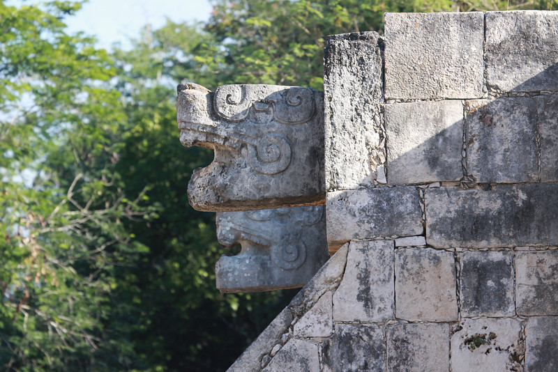 Detail of the serpents heads at the Platform of Eagles and Jaguars.
